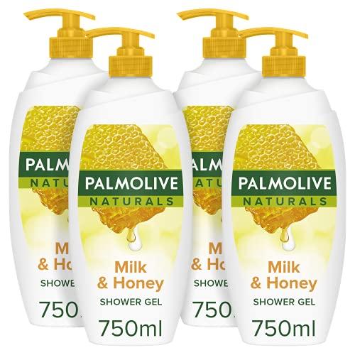 Palmolive Naturals Milk & Honey Duschgel Pump 750 ml 4er Pack, Dermatologisch getestete Duschgel, feuchtigkeitsspendende Milch und Honig (4 x 750 ml)