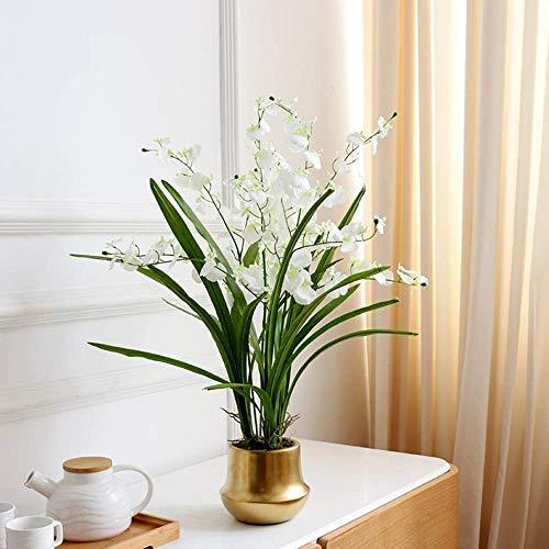 Dancing Orchid Kunstbloem Valse Bloem met Gouden Vaas for Indoor Outdoor Wedding Thuis Off decoratie feestelijk Inrichting Home Decoration (Color : White)