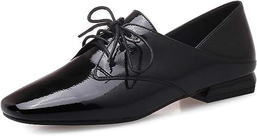 británicos zapatos cuadrada Cabeza charol de zapatos