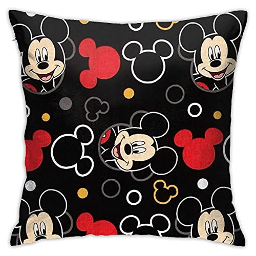 Mi-ckey Mo-Use for Children Pillow Case Designed as a for fansFull-Width Double-Sided Printed Plush Pillow Cover -4 Fundas para Almohada 18x18Inch(45cmx45cm)