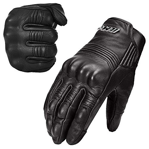 ILM Goatskin Leather Motorcycle Motorbike Powersports Racing Gloves Touchscreen for Men and Women Black (M, Black Unperforated)