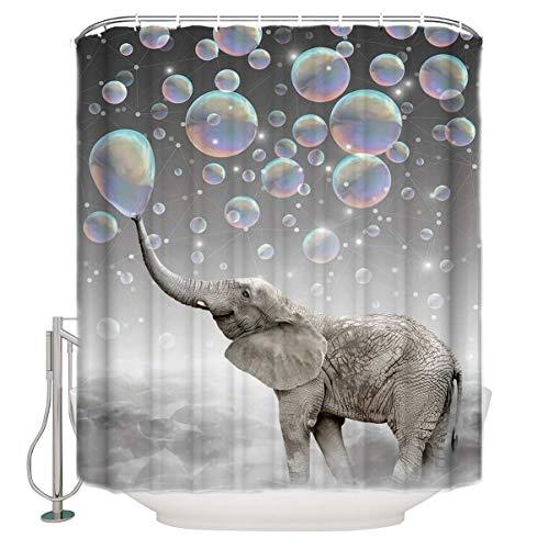 BAIGIO Duschvorhang 180x180cm Wasserdicht Antischimmel Polyester Badezimmer Vorhänge mit 12 Haken, 3D Digitaldruck Elefant bläst Blasen mit Öko-Tex
