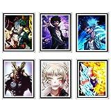 MS Fun Boku No Hero Academia One's Justice Dabi Shouto Himiko japoński cyfrowy plakat anime obraz na ścianę wydruki na płótnie, 20 x 25 cm, bez ramy, zestaw 6