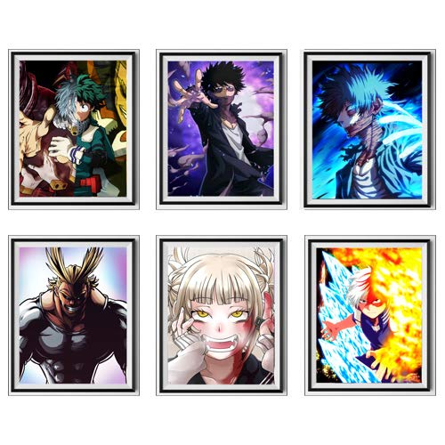 MS Fun Boku No Hero Academia One 's Justice Dabi Shouto Himiko - Póster digital japonés de anime para pared, impresión artística, 20,3 x 25,4 cm, sin marco, juego de 6