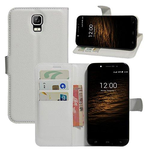 HualuBro UMI Rom Schutzhülle, UMI Rom X Hülle, Premium PU-Leder Brieftaschen-Schutzhülle mit Kartenschlitzen für UMI Rome/UMI Rome X Smartphone (weiß)