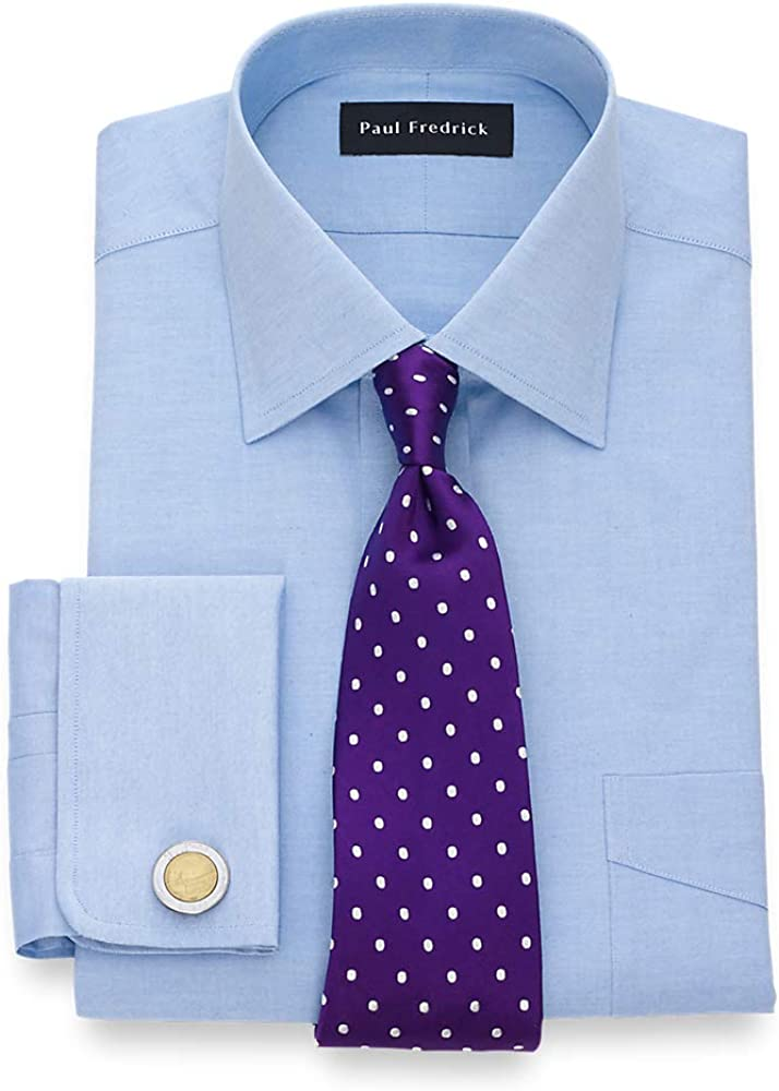 Paul Fredrick Men's Pinpoint Windsor Spread Collar French Cuff Dress Shirt