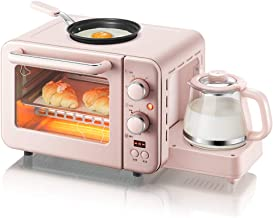 JINJN Retro Pink Breakfast Center Mini Toaster Oven 3-in-1 Family Size Breakfast Station, Multi Cup Coffee Maker and Griddle