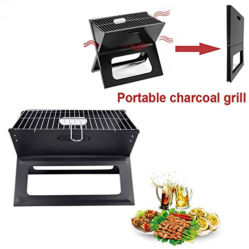 YGB Barbecue Grill Tragbare Edelstahl Notebook Barbecue BBQ Klappgrills Tisch Camping Holzkohle Folding BBQ Grills