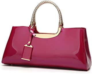 Fashion European & American Women Handbags Solid Color Patent Leather Shoulder Bag Bride Bag Candy Color & Zipper PU Messenger Jelly Package (Color : Purple)