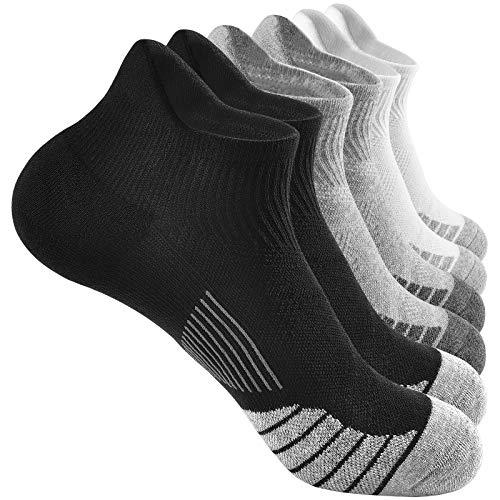 VBIGER 6 Paar Sneaker Socken Herren Kurze Sportsocken Halbsocken Socks Laufsocken Baumwolle Atmungsaktiv Quarter Schwarz Weiß Grau 39-42 43-46 47-50
