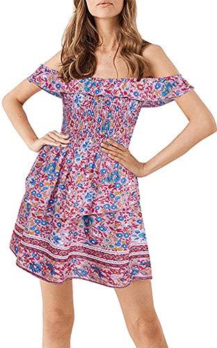 Longwu Mujer Boho Vintage Fuera del Hombro Tubo elástico Top Cintura Alta Estampado Floral Verano Playa Sundress Mini Vestido