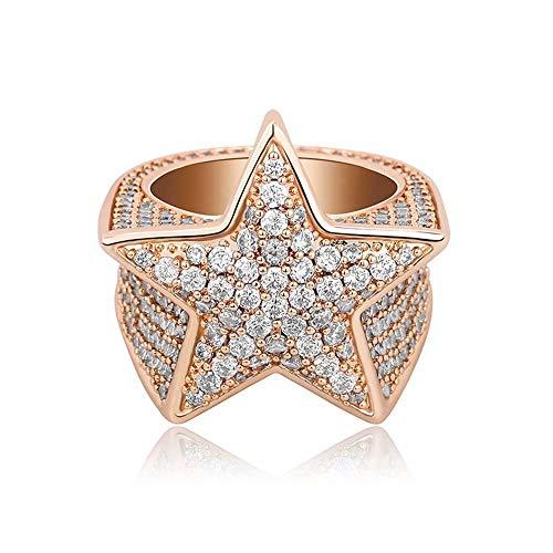 Anillo chapado en oro 18K Iced Out CZ Diamante simulado inundado 3D Star Pinky, Hip Hop Pentagram Ring Anillo de raperos de compromiso para hombres