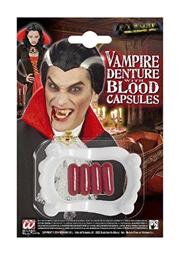 Denti per Costume - Travestimento - Carnevale - Halloween - Vampiro - Dracula - Twilight - Colore Bianco - capsule di Sangue - Unisex - Uomo - Donna - Ragazzi - Bambini