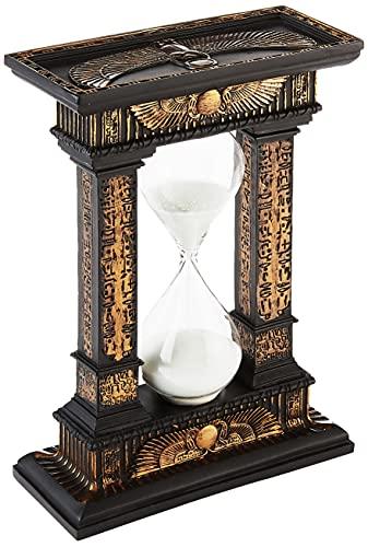 Design Toscano Les Sables du Temps Statue Sablier Décor Égyptien Minuterie à Sable, 18 cm, polyrésine, deux tons noir et or