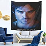 Zwinz The Vampire Diaries Damon Ian Somerhalde Wall Tapestry for Bedroom Tapestries Dorm Decor for Living Room59x59 Inches