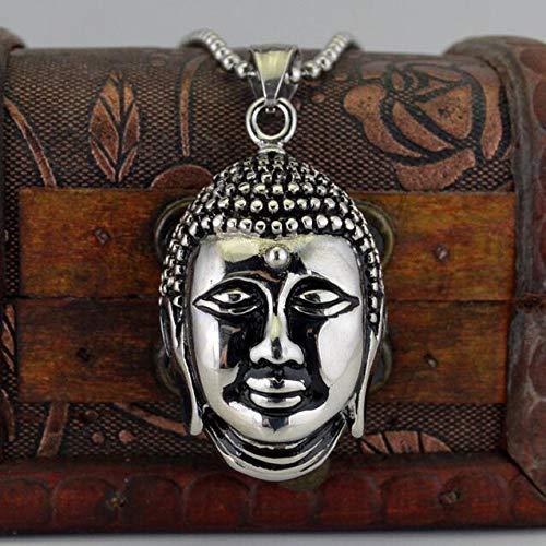 Collar Budismo Shakya Mani Retrato Buda Collar Hombres, Fe Religiosa 60Cm Cadena De Cuentas Collares Largos Colgantes Joyas Sin Cuello Regalo