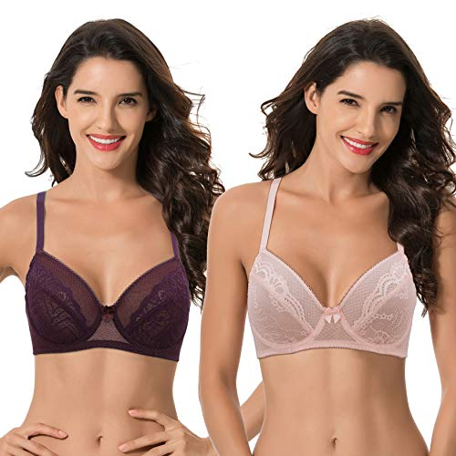 Curve Muse Women's Plus Size Unlined Padded Balconette Underwire Sheer Lace Bra-2PK-LT Pink,PLUM-48DDDD