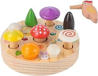 simhoa Wood Woodpecker Catch Worms Game Montessori