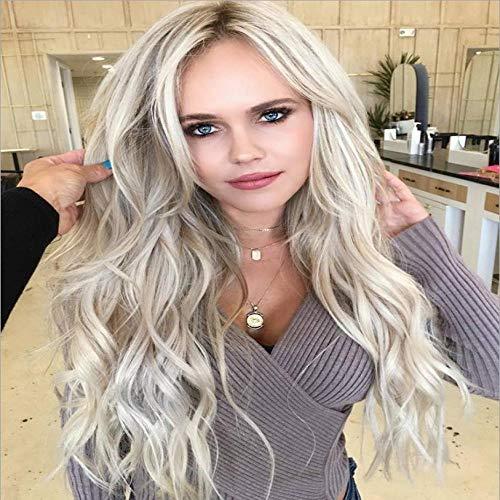 Blond clair gros cheveux longs et bouclés ondulés, 60cm, cheveux artificiels, soie synthétique à haute température, utilisée pour les vêtements quotidiens des femmes et les perruques de fête