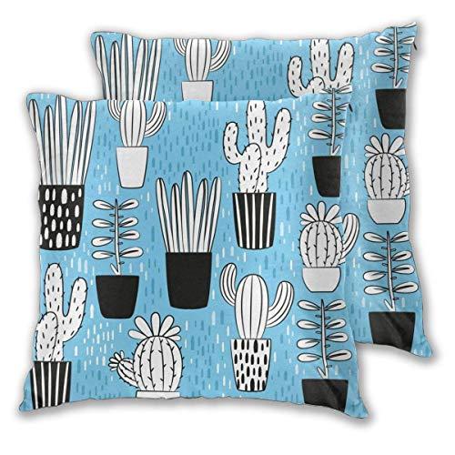 AEMAPE Soft Square Throw Kissenbezüge, White Cactus 2er Pack dekorative Kissenbezüge Kissenbezüge für Sofa Schlafzimmer Auto 40X40 cm
