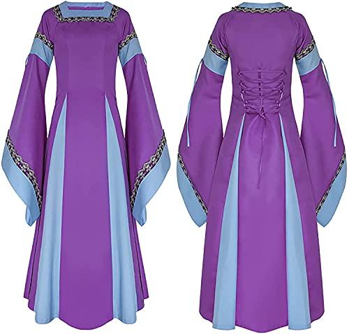 Plus Size Halloween Dresses for Women Medieval Vintage Two Color Dress Casual Patchwork Trumpet Sleeve Party Dress (Purple  L)