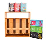 Refine Bamboo Tea Bag Organizer, 4 compartments 200 sachets high capacity wooden vertical storage solution for your tea bags, with display window