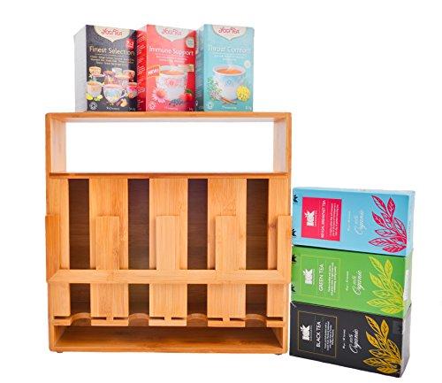 Refine Teebeutelorganizer aus Bambus, 4 Fächer, 200 Beutel, hohe Kapazität, vertikale Aufbewahrungslösung für Ihre Teebeutel, mit Sichtfenster