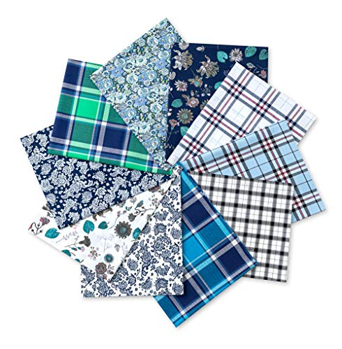 100% Cotton Fat Quarters Fabric Bundles 18' x 22' Inchs (46cmX56cm) 10 Pcs Various Color Fabric for Quilting Patchworking Clothes &Face Cover Making and DIY Crafts