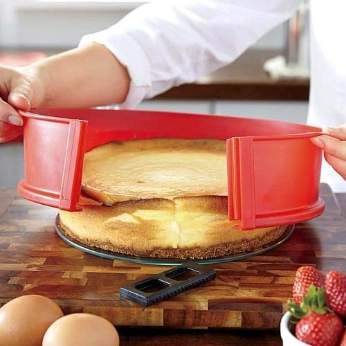 "Silicone Springform Non-Stick Baking Pan, Removable Ring & Tempered Glass Bottom, Leak-Proof, 100% Food Grade, BPA-Free, Non-Toxic Cheesecake Bakeware/Round Cake Pie Pan - 7"" Yellow"