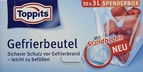 Toppits Gefrierbeutel, 3 Liter, Standboden, (1x30 Stück), Transparent