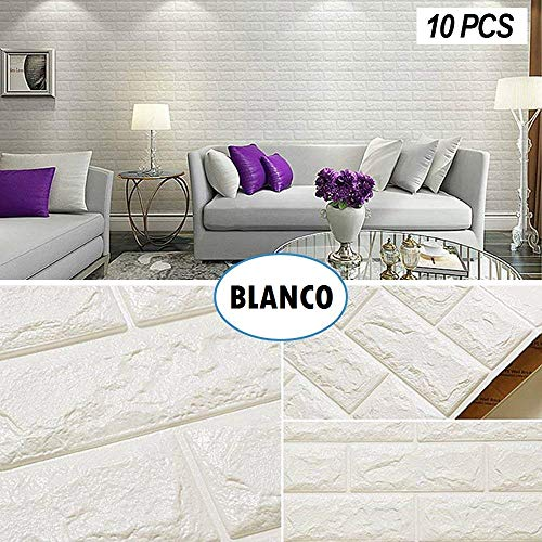 Jueyan 10 PCS 3D Papel Pintado Decoración de Pared en Relieve Piedra de Ladrillo Paneles de Pared Autoadhesivos Pegatinas de Pared de Ladrillo Moderno PE de Eespuma DIY Pared Pegatinas,Blanco