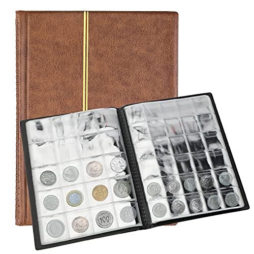 SAVITA 250 Bolsillos Álbum de Monedas Libro de Colección de Monedas de Cuero de 10 Páginas Libro de Colección de Peniques para Coleccionistas de Monedas (Marrón)