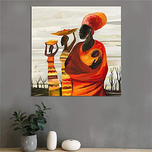 XIANGPEIFBH Abstract portrait painting african wall art canvas pictures wall prints printed painting for living room home decor art 50x50cm Unframed