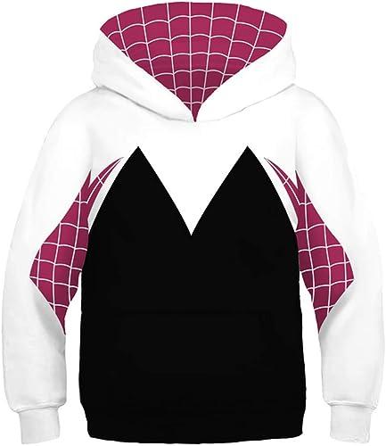 Sweat à Capuche Garçon Sweat-Shirt Fille Garçon pour Décontracté Enfant à Capuche Fantaisie 3D Impression Spiderhomme encapuchonné Sweatshirt Costume de Festival 4-13 Ans