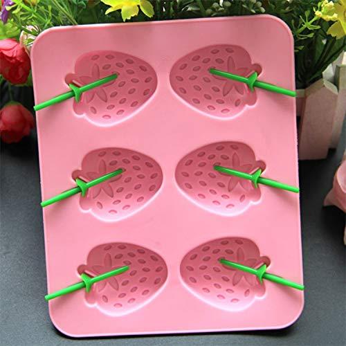 DIY rosa Silikon Erdbeereis Eismaschine Eis am Stiel Schimmel Eiswannen Küchenzubehör-pink-M