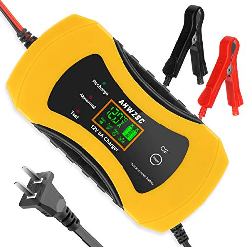 Car Battery Charger, 8A 12V Fully Automatic Battery Charger/Maintainer with LCD Screen, Used to Charge, Maintains and Reconditions Car Motocycle Lead Acid Battery and More