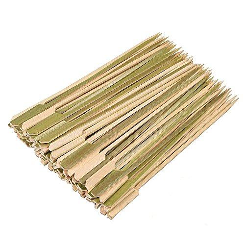 MINGZE 200 Stück18cm natürliche Bambus Spieße für Grill Spieße, Tasche Kabob Spieße, Döner, Obst, Schokoladenbrunnen, Outdoor Grill, Fondue, Kochen, Grillen & Kabob