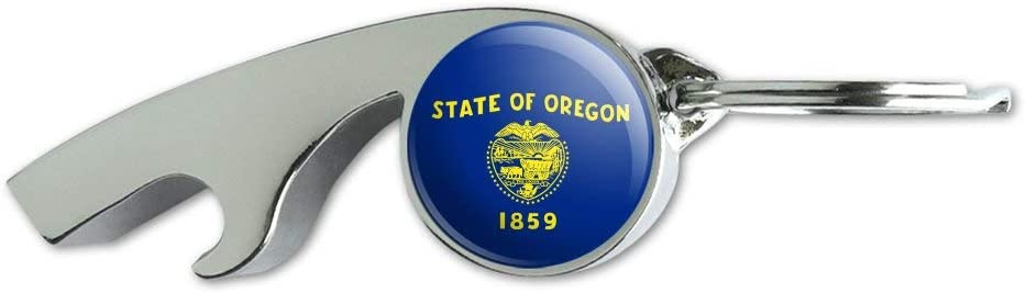 Oregon State Flag Max 90% OFF Keychain Chrome Op Whistle Plated Metal Bottle Ultra-Cheap Deals