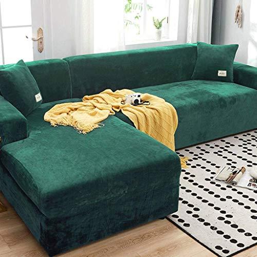 YWTT Funda elástica para sofá en Forma de L, Funda de Terciopelo para sofá, Fundas Antideslizantes Protectoras para sofá, Fundas para sofá de 1 2/3 Cojines, 190-230 cm, Color Verde