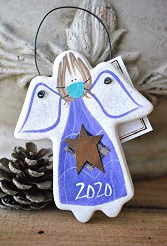 2020 Quarantine Christmas Ornaments - 2020 Angel with Mask Christmas Salt Dough Ornament - 2020 Ornament- Christmas Gift- Funny Christmas- Ornaments Handmade - 2020 Christmas Ornament- Quarantine Gift