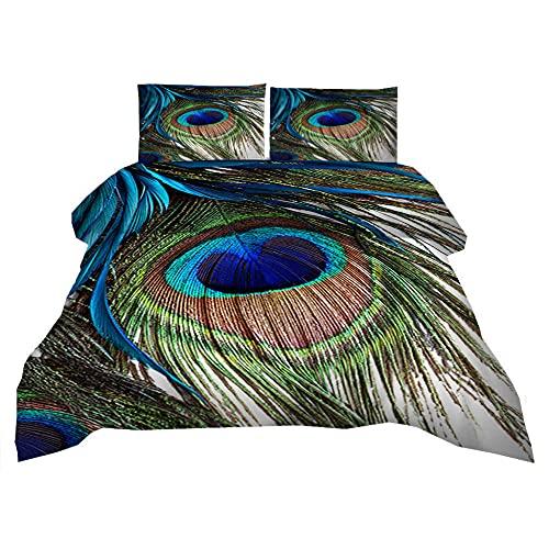 Juego de Cama 3 Piezas ,Pluma de Pavo Real Funda Nórdica de Microfibra 3D con Cierre de Cremallera,Suave Transpirable,Hipoalergénico,2 Funda de Almohada 50x75cm +1 Funda Nórdica 140X200 cm