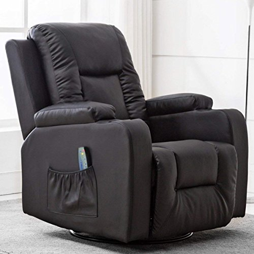 Comhoma Leather Recliner Chair Modern Rocker with Heated Massage Ergonomic Lounge 360 Degree Swivel...