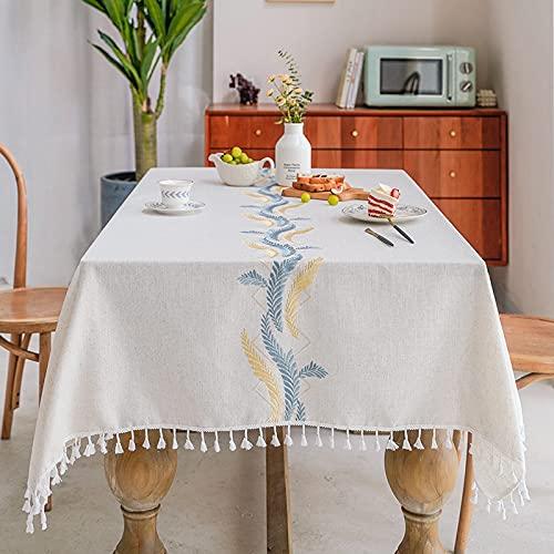 Marca Blanca - Tovaglia quadrata lavabile, in finto lino, impermeabile, 100 x 160 cm