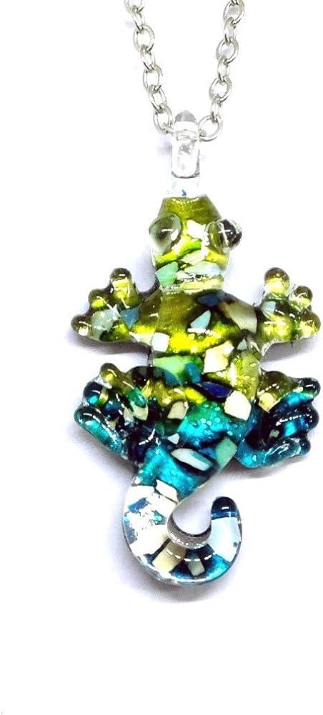 Handmade Mini Lizard Art Glass Blown Animal Figurine Pendant Necklace Jewelry