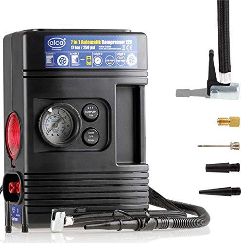 Alca Germany 7-in-1 luchtcompressor, 12 V-pomp, 7 bar. 100 psi, met licht, knipperlicht voor noodgevallen, alle soorten banden, oppompen, afpompen, drukmeter met functie voor automatisch uitschakelen, sigarettenaanstekerstekker.