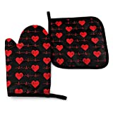 XCNGG Guantes para microondas Heartbeat EKG Unisex Pattern Heat Resistant Oven Mitts Pot Holders for Kitchen Set Soft Anti-Scald Cotton Non-Slip Gloves,