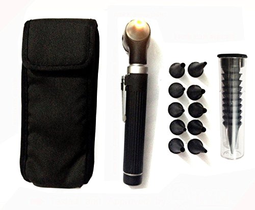 Fiber Optic Mini Otoscope Set - Medical Diagnostic Examination Set - Pocket Size - (BLACK)