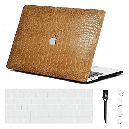 DHZ MacBook Pro 13 inch Case 2020 2019 2018 2017 2016 Release A2289 A2251 A2159 A1989 A1706 A1708,Italian Leather Cover Hard Shell with Keyboard Skin,Dust Plug,Brush (4 in 1) Crocodile Yellow Brown