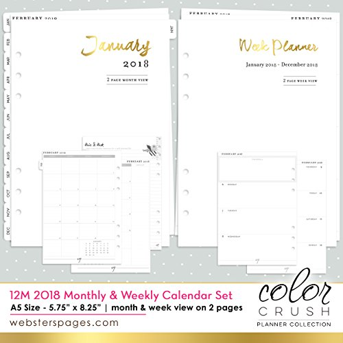 Color Crush A5 Planner 12-Month Calendar Insert-2018 Dated Week & Month