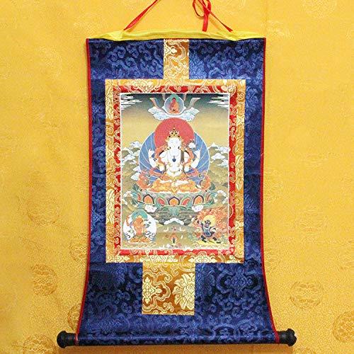 ZSPSHOP Les Fabricants Fournissent Une Impression Rentable De Bouddhisme Tibétain Très Haute Image De Bouddha Bronzant Thangka Lot Cheveux à Quatre Bras Guanyin Grand